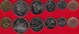 Fiji Set Of 6 Coins: 2 Cents - 1 Dollar 2000-2006 UNC - Figi