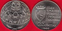 """Andorra 25 Centims 1995 Km#109 """"50th Anniversary - FAO"""" UNC - Andorre"""