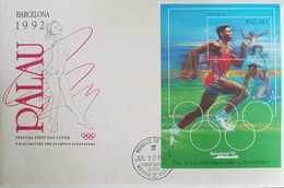 L) 1992 PALAU, OLYMPIC, SPORT, ATHLETICS, RUNNER, BARCELONA 92, PALAU SALUTES THE OLYMPIAN INNOVATORS, FDC - Palau