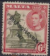 Malta 1948 KGV1 6d Olive Green & Scarlet Self Government Ovpt SG 242 ( G1449 ) - Malte (...-1964)