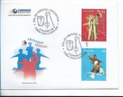 ARGENTINA FDC, 2008, ARMENIA - ARGENTINA JOINT ISSUE, MALAMBO HOY NAZAN DANCES - FDC