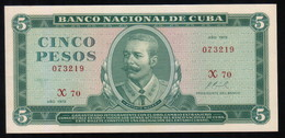 Caribe  / 5 PESOS 1972 REPLACEMENT Serie X-70 073219 Pick 103b UNC - Cuba