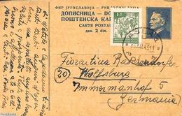 Yugoslavia 1949 Postcard 2d, Uprated To Germany, (Used Postal Stationary) - Entiers Postaux