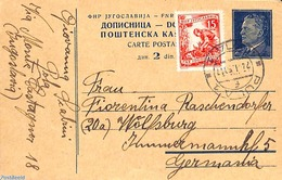 Yugoslavia 1953 Postcard 2d, Uprated To Germany, (Used Postal Stationary) - Entiers Postaux