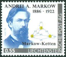 """MARKOV, A. - Liechtenstein 2014, MNH ** - Mathematician, Mathematics -  Markov Chains - """"die Marke"""" - Sciences"""