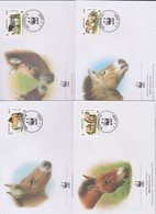 World Wide Fund For Nature 2000 Mongolia Horses,Set 4 Official First Day Covers - FDC