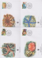 World Wide Fund For Nature 2001 British Indian Ocean Starfish  ,Set 4 Official First Day Covers - FDC