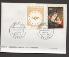 1968  Philafrique - Tableau De J. Raoux «Jeune Fille Lisant Ne Lettre» Poste Aérienne FDC - Senegal (1960-...)