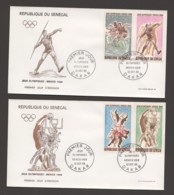 1968- Jeux Olympiques De Mexico Course, Javelot, Judo, Basketball - 2 FDC - Senegal (1960-...)