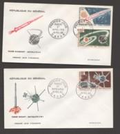 1966- Fusées Et Satellites: Fusées Scout, Diamant; Satellites FR1, A-1 - 2 FDC - Senegal (1960-...)