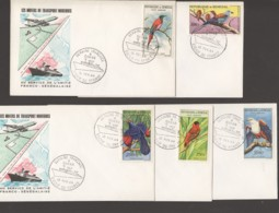 1964- Semaine Française Oblitération Spéciale - 5 Env. Souvenir - Oiseaux Htes Valeurs Poste Aérienne - Senegal (1960-...)