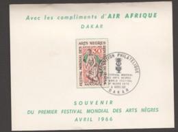 1966- Carte Souvenir Premier Festival Mondial Des Arts Nègres - - Senegal (1960-...)