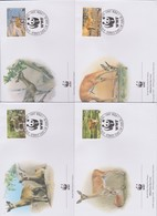 World Wide Fund For Nature 2001 Swaziland Ouribia ,Set 4 Official First Day Covers - FDC