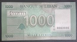 Lebanon, 1000 Liras Banknote (2012) Fancy Radar & Solid Series No. 6663666 - UNC - Lebanon