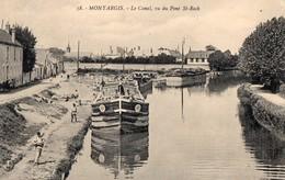 CPA Batellerie - 45 - MONTARGIS - Le Canal - Vu Du Pont St-Roch - Péniches, Bateliers - Montargis