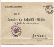 WO1 Kriegsgefangene.POW. Zensur Münster>Freiburg Schweiz - 1. Weltkrieg