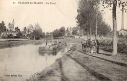 CPA Batellerie - 51 - CHALONS-SUR-MARNE - Le Canal - Chevaux De Halage Tirant La Péniche - Châlons-sur-Marne