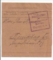WO1 Kriegsgefangene.POW. Zensur Gardelegen>Köningsberg.Streifband-Bande-Wrap - 1. Weltkrieg
