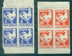 FRANCE Poste Enfantine 5c & 10c Coq Blocs De 4 N Xx Début Années 60 - Curiosità: 1960-69  Nuovi