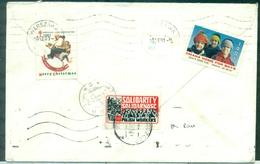 POLOGNE Vignette SOLIDARNOSC Ob En Pologne Au Verso  D'une Lettre Des USA 1981 Rare - Erinnofilia