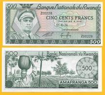 Rwanda 500 Francs P-11a 1974 UNC - Ruanda