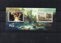 Gibraltar  Isle Of Man / 2005 Nelson Bataille De Trafalgar Bloc Dentelé 2 Valeurs MNH Vente Départ 2.00 Euros - Barcos