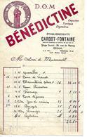 Facture Publicité Liqueur BENEDICTINE 1/2 Format / Vosges Epinal CARDOT-FONTAINE Pour MIRECOURT - France