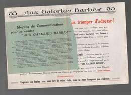 Paris Bd Barbès : Prospectus De Localisation Des GALERIES BARBES (PPP9470) - Publicités