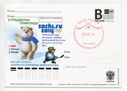 "2012 RUSSIA POSTCARD ""B"" SOCHI 2014 WHITE BEAR TALISMAN HOCKEY WORLD CUP U20 UFA SPP & OVERPRINT - Hockey (Ice)"