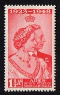 Aden. Hadhramaut.  1949 Silver Wedding Anniversary - King George V And Queen Elizabeth.  SG 14. MH - Aden (1854-1963)