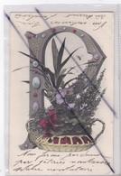 Carte Fantaisie :Lettre P Avec Corbeille De Fleurs (carte Précurseur  ) - Unclassified