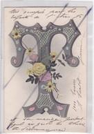 Carte Fantaisie :Lettre T Avec  Fleurs (carte Précurseur  ) - Unclassified