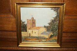 Très Belle Huile Sur Toile Signé Léonard Pol,Messancy,église De Val,dimensions 23 Cm. Sur 23 Cm. - Huiles