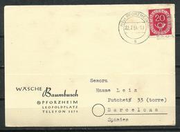 Alemania. 1954. Tarjeta Comercial. Cancelación De Pforzheim. - Briefe U. Dokumente