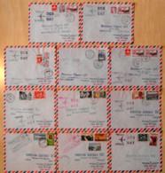 """"""" PREMIERE LIAISON PAR JETLINER 1960 """" : LOT De 11 LETTRES POSTE AERIENNE (COTE IVOIRE CONGO..) CAD PARIS GARE AVION PLM - Luchtpost"""