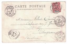 """1905 - CARTE POSTALE Avec CACHET MARITIME """" LIGNE N / PAQUEBOT PAQ. FR. N° 8 """" Sur CP SAIGON PNOM PENH - Marcophilie (Lettres)"""