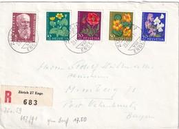 SUISSE 1959 LETTRE RECOMMANDEE DE ZURICH SANS CACHET ARRIVEE - Schweiz