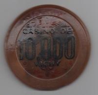 Jeton De Casino De Vichy 10000F=100NF (Fortement Déformé - Détérioration âgée ?) - Casino