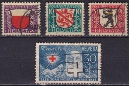 Switzerland / Schweiz / Suisse : 1928 Wappen / Henri Dunant Kompletter Gestempelter Satz Michel 229 / 232 - Pro Juventute