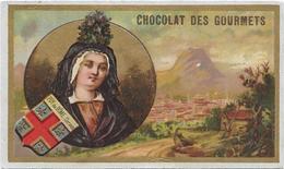 Pacon/encadrement Or :  Dans Médaillon : Femme à La Coiffe Noire  + Ecusson Puy-de-Dôme.Clermont  Sur  Fond Du Paysage - Thé & Café