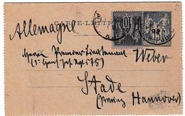 Entier Postal 1892 Type Sage Stade Deutschland - Cartes Postales Types Et TSC (avant 1995)