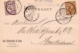 12 OCT 97 Firma-briefkaart EXPRESSE BESTELLING OP DE BEURS Van Utrecht Naar Amsterdam Met NVPH33 En 36 - Periode 1891-1948 (Wilhelmina)