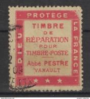 """FRANCE - PORTE-TIMBRE """" DIEU PROTEGE LA FRANCE / TIMBRE DE REPARATION / ABBÉ PESTRE VANAULT """" - OBLITÉRÉ 1909 - Pubblicitari"""