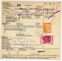 Auslands Packetkarte Nach Belgien 1966 - 4 Franken Frankatur - Suisse