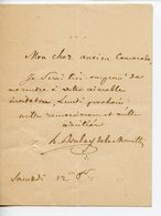 153. HOMME D'ETAT FRANCAIS HENRI BOULAY DE LA MEURTHE (NANCY 1797-PARIS 1858). PETITE LAS REPONSE A UNE INVITATION - Autógrafos