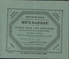 Paris Muséum D'histoire Naturelle Billet Ticket D'entrée Pour Ménagerie 13 X 10 Pour 5 Personnes Reptiles Singes ... - Toegangskaarten