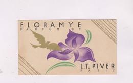 CARTE PARFUMEE FLORAYE De LT PIVER (avec Calendrier 1936 Au Dos) - Perfume Cards