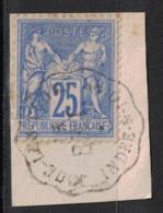RARE!! CAD CONVOYEUR STATION De JOUÉ LES TOURS LIGNE De BRESSUIRE À TOURS INDRE LOIRE Sur FRAGMENT SAGE 25c - 1876-1898 Sage (Type II)