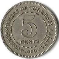 1 Pièce De Monnaie 5 Cents 1950 - Malaysie