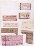9 VIEUX PAPIER DIVERS (bon De Solidarite,tickets Rationnement Guerre,tickets Meeting Aviation A Rodez, Ticket Train, Etc - Non Classés